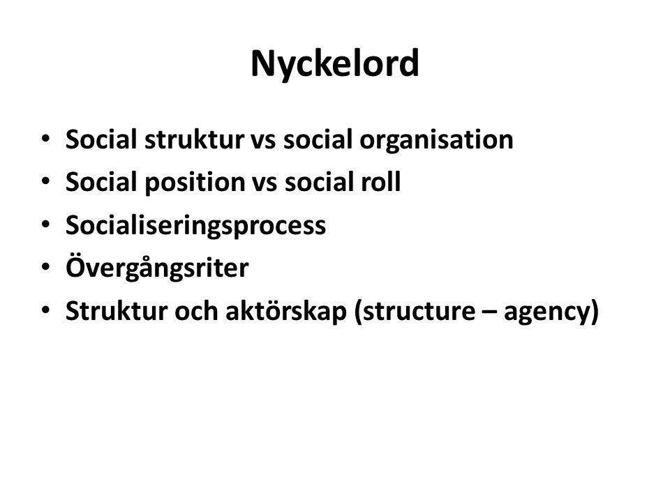 Nyckelord Social struktur vs social organisation Social position vs social roll Socialiseringsprocess Övergångsriter Struktur och aktörskap (structure – agency)