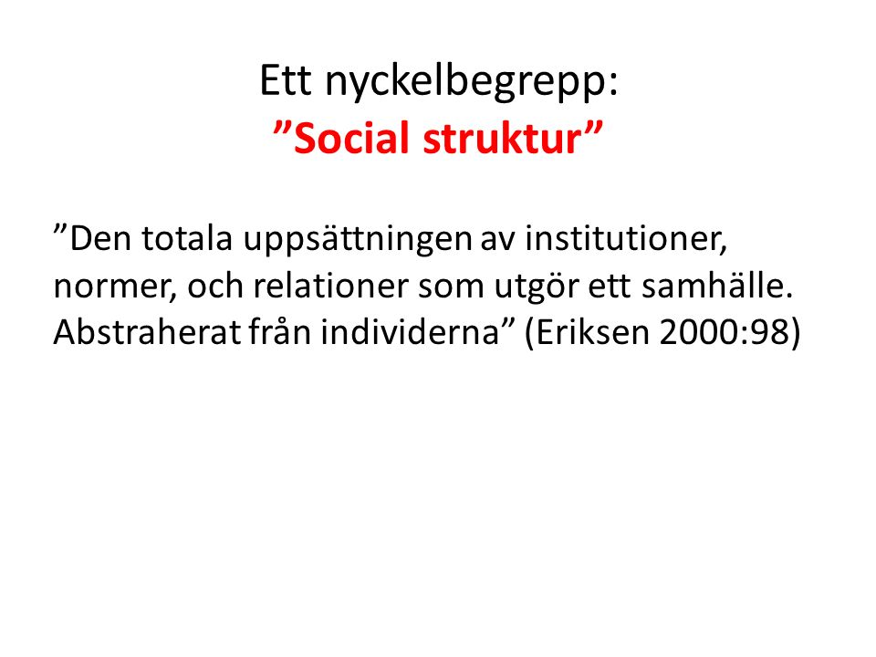Social struktur vs Social organisation Social struktur = statisk orörlig Social organisation = levande dynamisk Den sociala organisationen kan beskrivas som den sociala strukturens dynamik Den sociala organisationen har alltså att göra med sociala relationer
