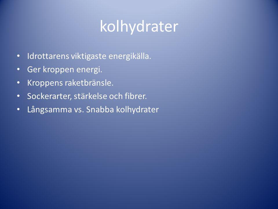 kolhydrater Idrottarens viktigaste energikälla. Ger kroppen energi. Kroppens raketbränsle. Sockerarter, stärkelse och fibrer. Långsamma vs. Snabba kol
