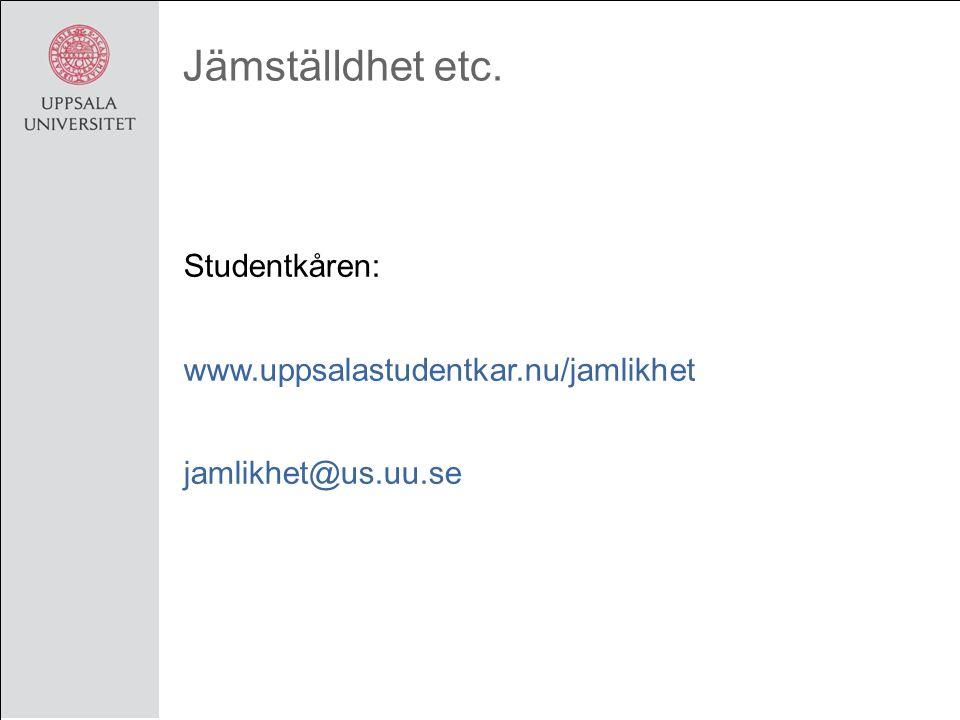 Jämställdhet etc. Studentkåren: www.uppsalastudentkar.nu/jamlikhet jamlikhet@us.uu.se