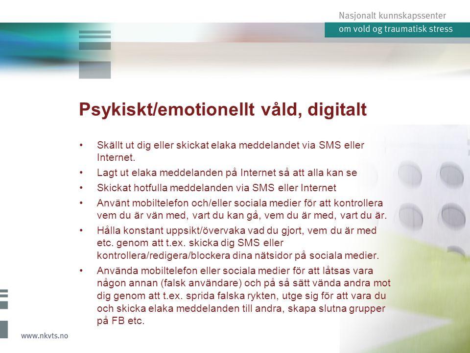 Psykiskt/emotionellt våld, digitalt Skällt ut dig eller skickat elaka meddelandet via SMS eller Internet.
