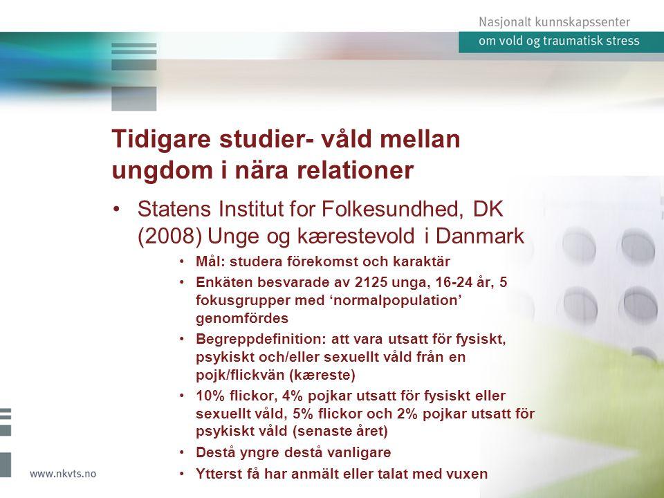 Tidigare studier- våld mellan ungdom i nära relationer Blom, H.