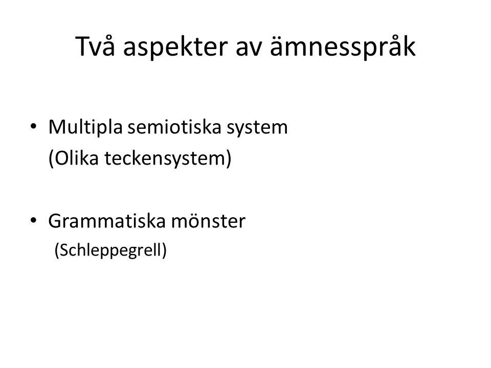 Två aspekter av ämnesspråk Multipla semiotiska system (Olika teckensystem) Grammatiska mönster (Schleppegrell)