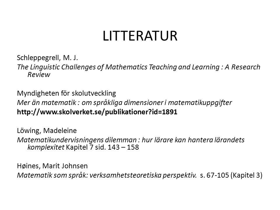 LITTERATUR Schleppegrell, M. J.