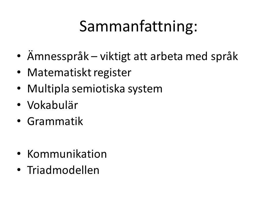 Sammanfattning: Ämnesspråk – viktigt att arbeta med språk Matematiskt register Multipla semiotiska system Vokabulär Grammatik Kommunikation Triadmodellen