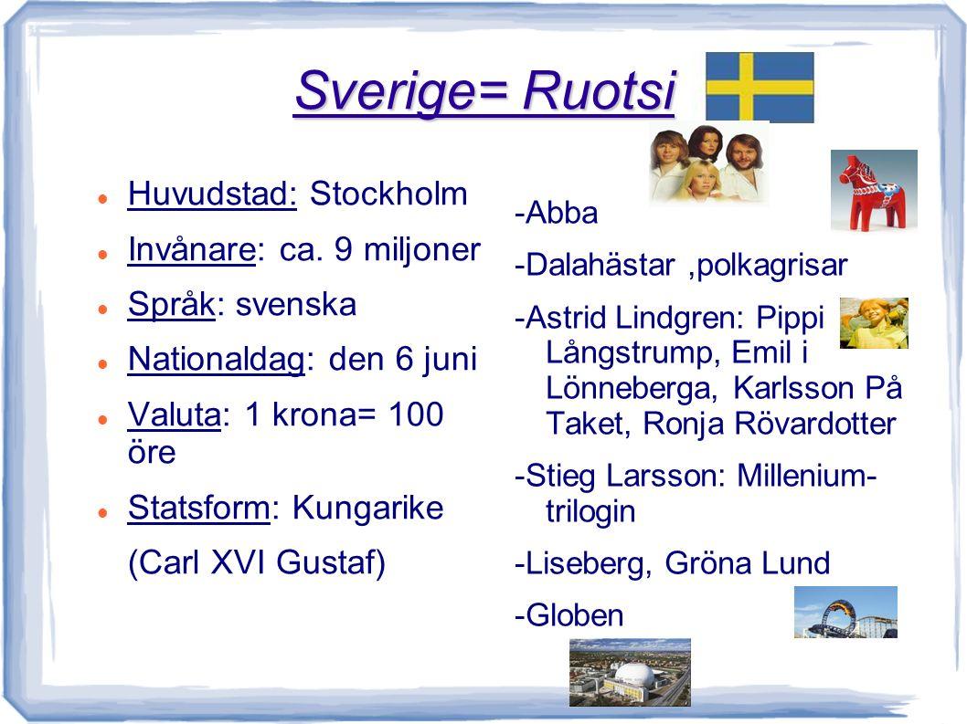 Norge = Norja Huvudstad: Oslo Invånare: ca 4,5 miljoner Språk: norska Nationaldag: den 17 maj Valuta: 1 krona = 100 öre Statsform: Kungarike (Kung Harald V) -Fjordar (Sognefjorden) -Galdhoppigen -Edvard Munch: Skriket -Vigelandsparken -Olja, fiske - osthyveln, getost