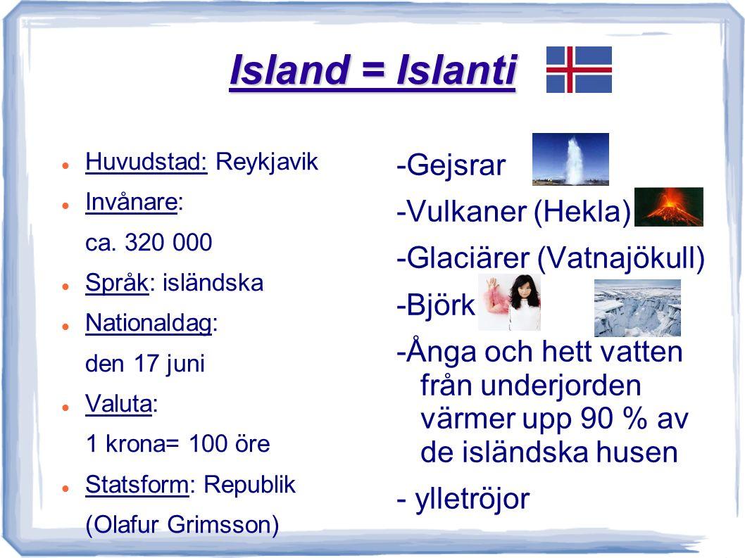 Island = Islanti Huvudstad: Reykjavik Invånare: ca.