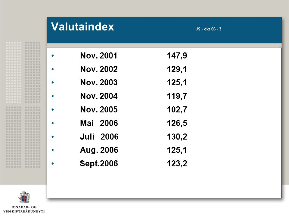 Valutaindex JS - okt 06 - 3 Nov. 2001147,9 Nov. 2002129,1 Nov.
