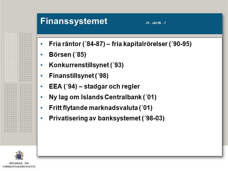 Finanssystemet JS - okt 06 - 7 Fria räntor (´84-87) – fria kapitalrörelser (´90-95) Börsen (´85) Konkurrenstillsynet (´93) Finanstillsynet (´98) EEA (´94) – stadgar och regler Ny lag om Islands Centralbank (´01) Fritt flytande marknadsvaluta (´01) Privatisering av banksystemet (´98-03)