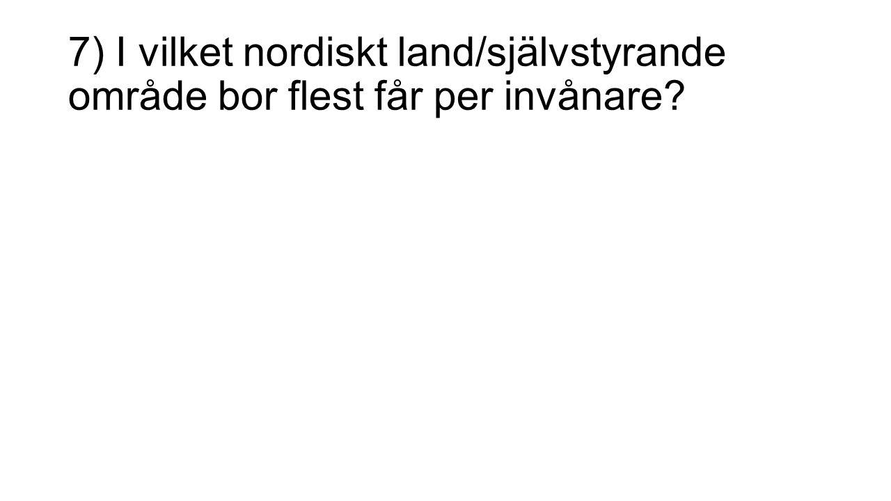 7) I vilket nordiskt land/självstyrande område bor flest får per invånare?