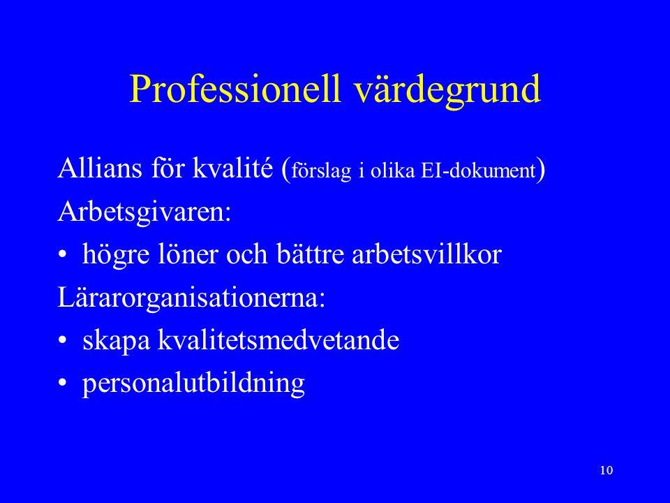 10 Professionell värdegrund Allians för kvalité ( förslag i olika EI-dokument ) Arbetsgivaren: högre löner och bättre arbetsvillkor Lärarorganisationerna: skapa kvalitetsmedvetande personalutbildning