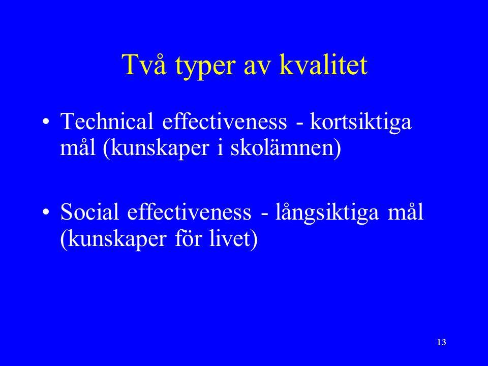 13 Två typer av kvalitet Technical effectiveness - kortsiktiga mål (kunskaper i skolämnen) Social effectiveness - långsiktiga mål (kunskaper för livet