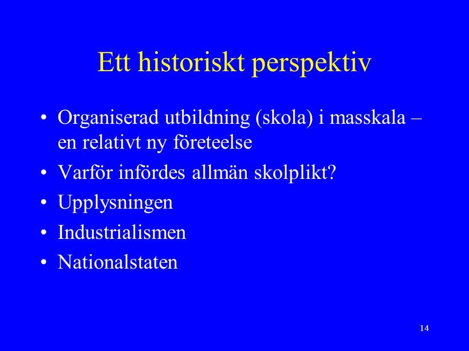 14 Ett historiskt perspektiv Organiserad utbildning (skola) i masskala – en relativt ny företeelse Varför infördes allmän skolplikt.