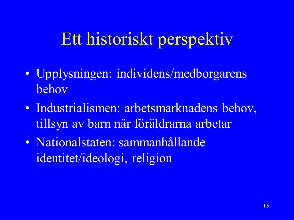 15 Ett historiskt perspektiv Upplysningen: individens/medborgarens behov Industrialismen: arbetsmarknadens behov, tillsyn av barn när föräldrarna arbetar Nationalstaten: sammanhållande identitet/ideologi, religion
