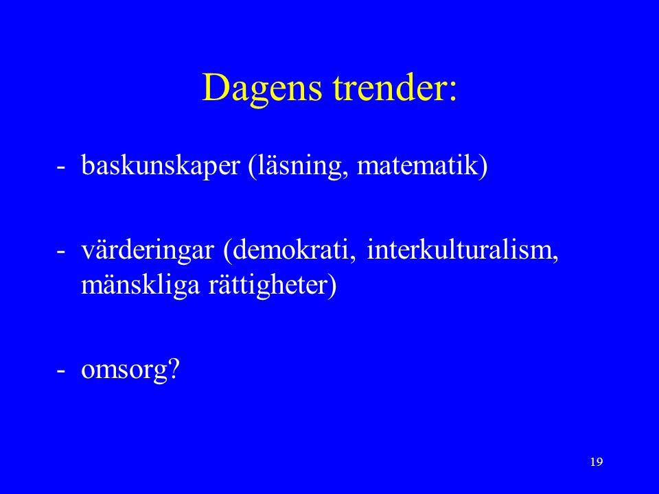 19 Dagens trender: -baskunskaper (läsning, matematik) -värderingar (demokrati, interkulturalism, mänskliga rättigheter) -omsorg?
