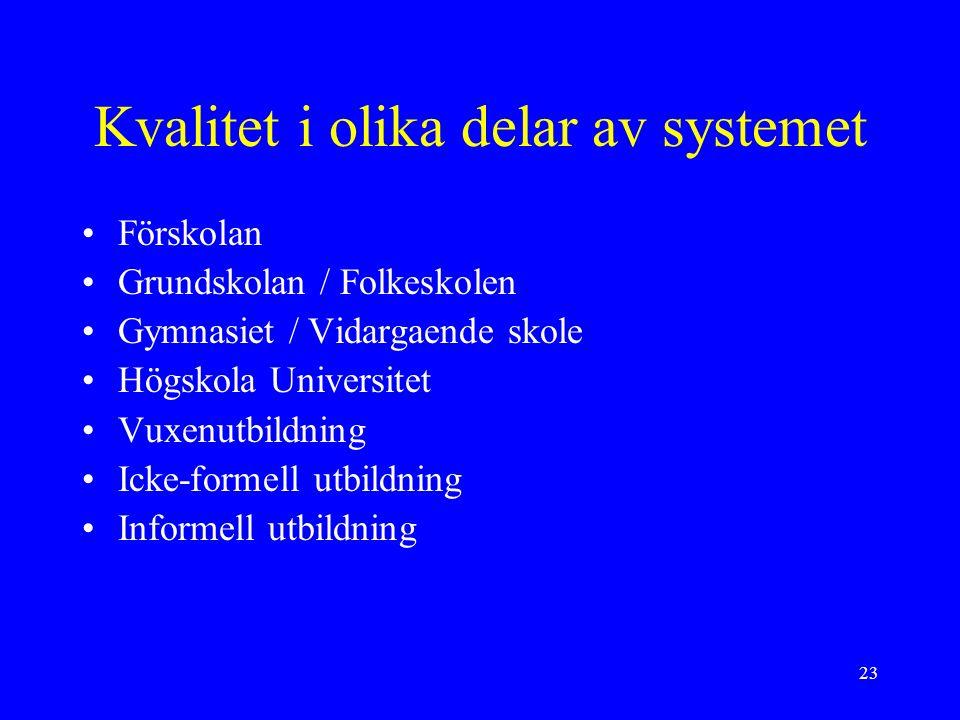 23 Kvalitet i olika delar av systemet Förskolan Grundskolan / Folkeskolen Gymnasiet / Vidargaende skole Högskola Universitet Vuxenutbildning Icke-form