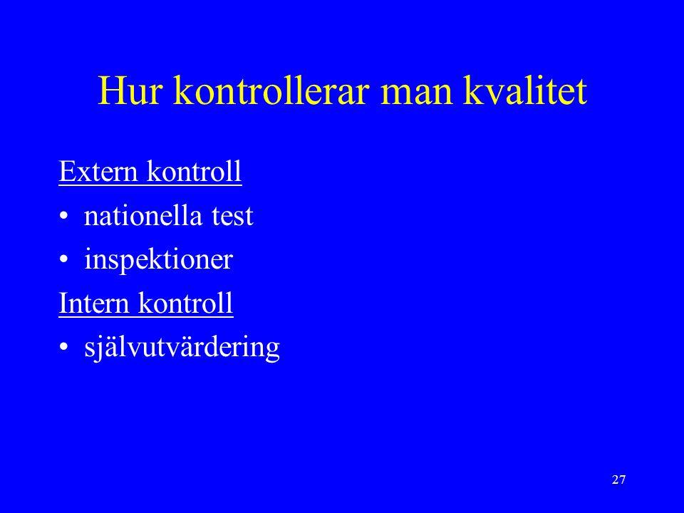 27 Hur kontrollerar man kvalitet Extern kontroll nationella test inspektioner Intern kontroll självutvärdering