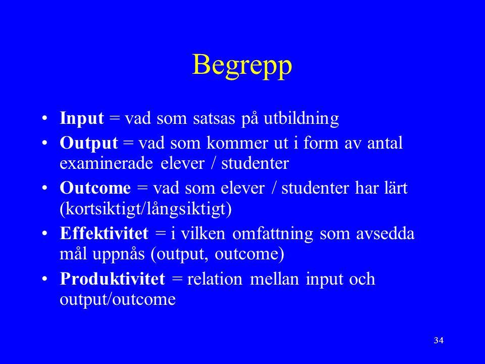 34 Begrepp Input = vad som satsas på utbildning Output = vad som kommer ut i form av antal examinerade elever / studenter Outcome = vad som elever / s