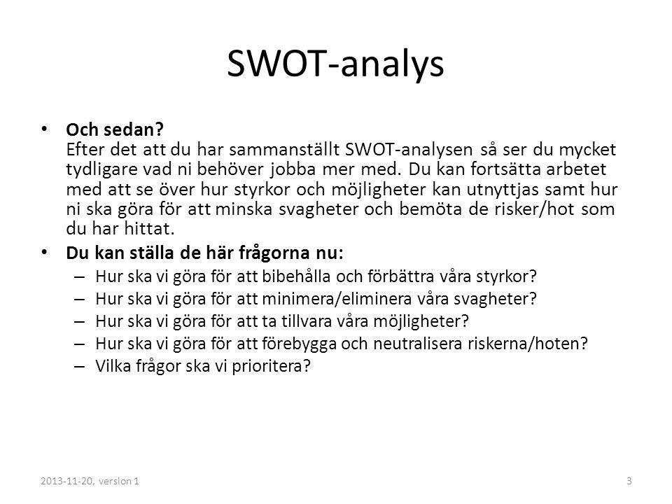 SWOT-analys Och sedan.