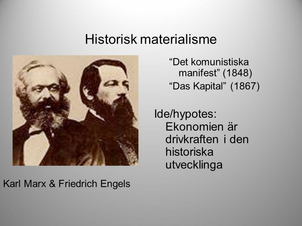 Historisk materialisme Det komunistiska manifest (1848) Das Kapital (1867) Ide/hypotes: Ekonomien är drivkraften i den historiska utvecklinga Karl Marx & Friedrich Engels