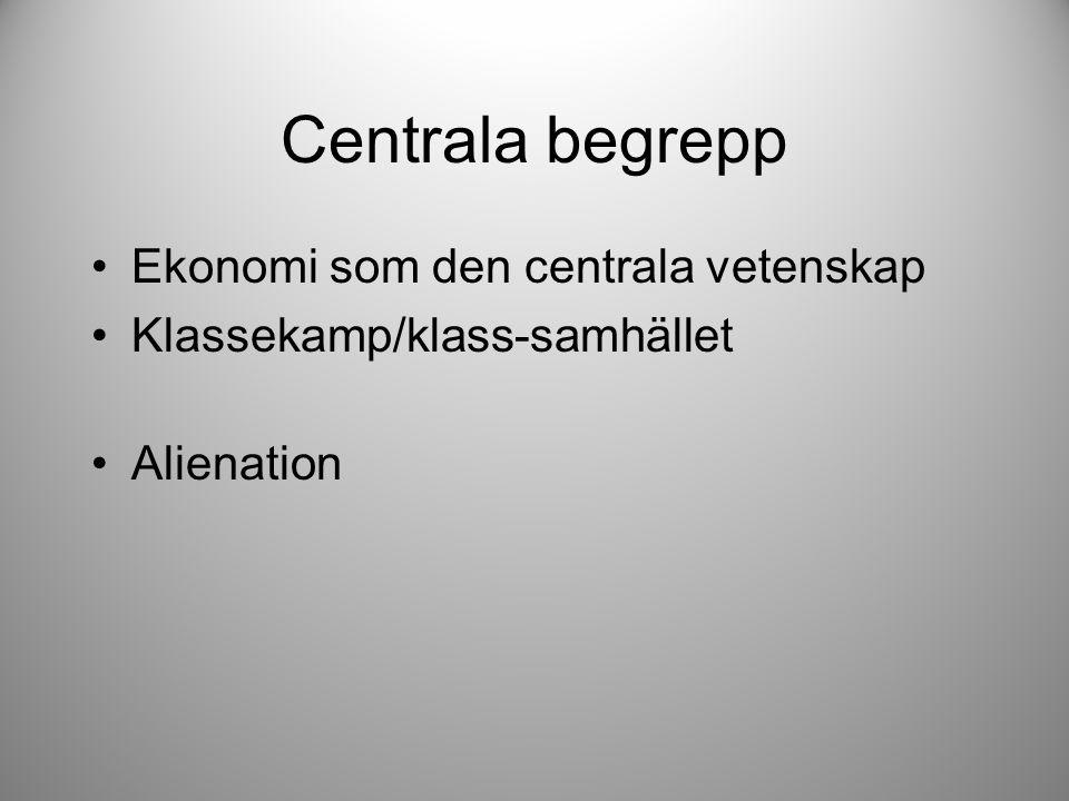 Centrala begrepp Ekonomi som den centrala vetenskap Klassekamp/klass-samhället Alienation