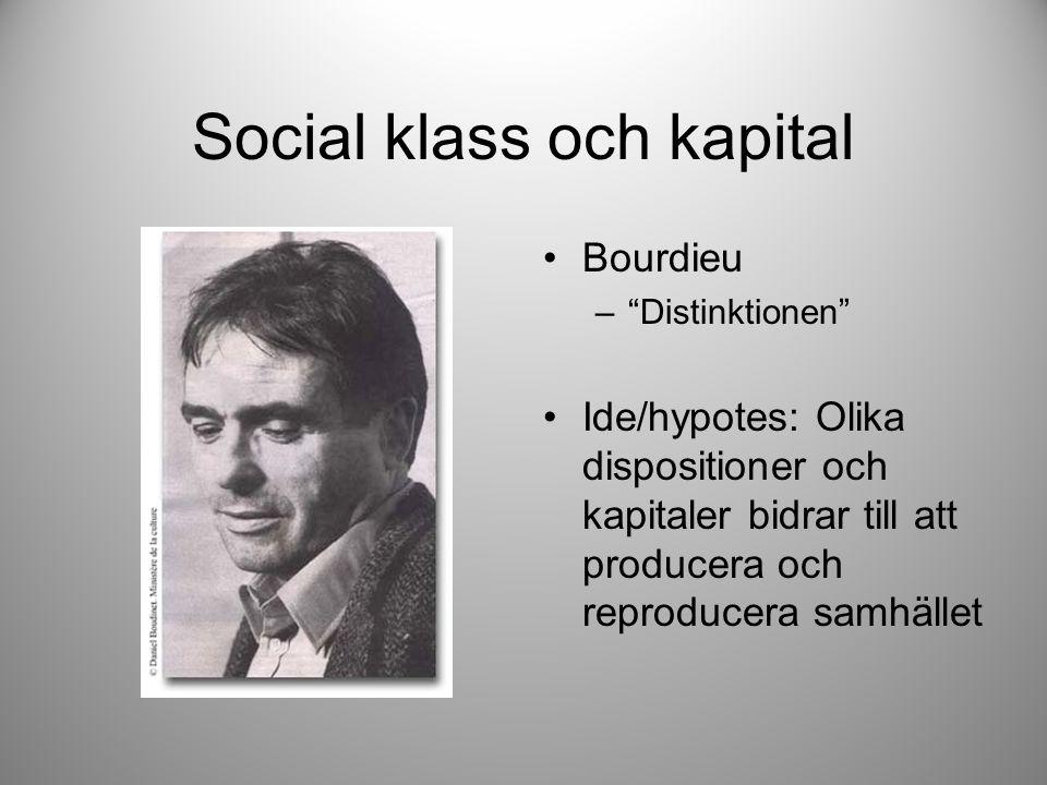 Social klass och kapital Bourdieu – Distinktionen Ide/hypotes: Olika dispositioner och kapitaler bidrar till att producera och reproducera samhället