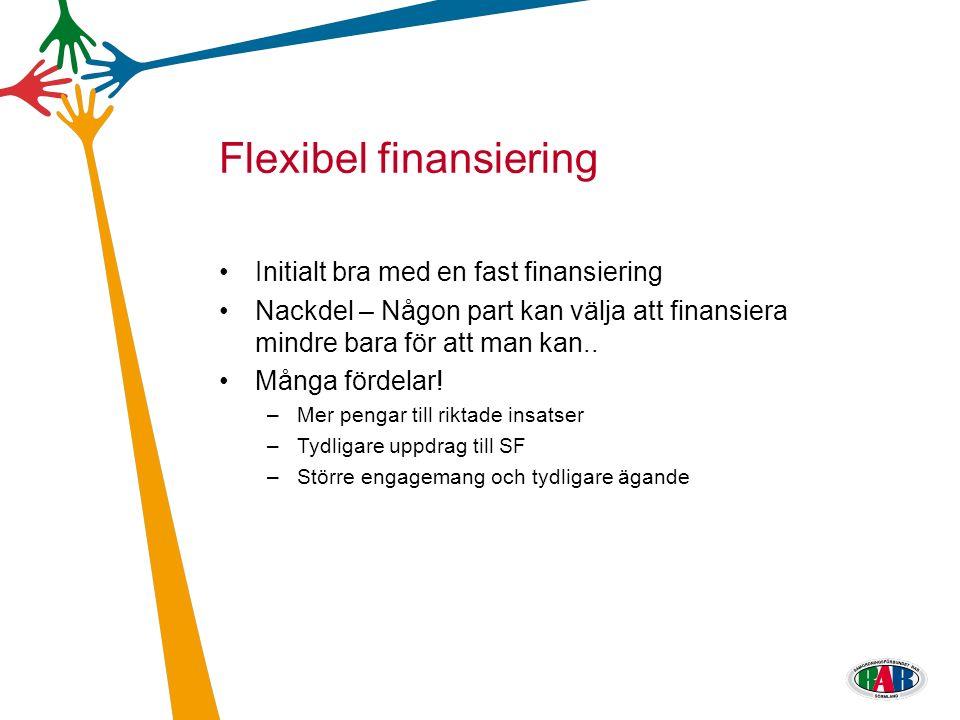 Initialt bra med en fast finansiering Nackdel – Någon part kan välja att finansiera mindre bara för att man kan..