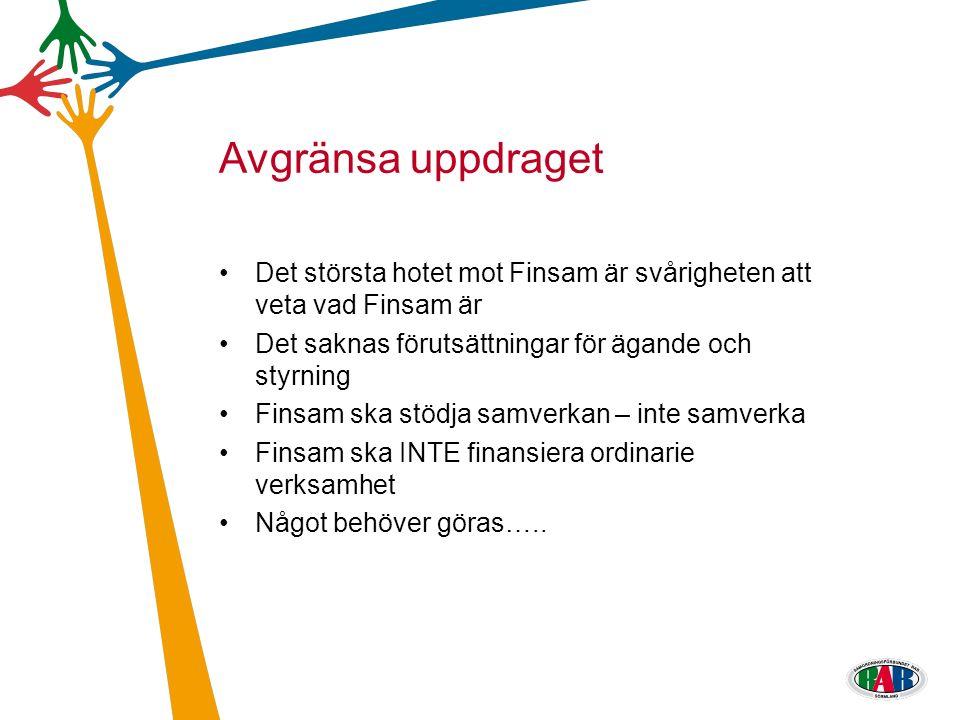 Det största hotet mot Finsam är svårigheten att veta vad Finsam är Det saknas förutsättningar för ägande och styrning Finsam ska stödja samverkan – in