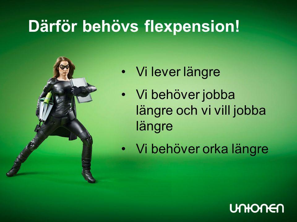 Vi lever längre Vi behöver jobba längre och vi vill jobba längre Vi behöver orka längre Därför behövs flexpension!