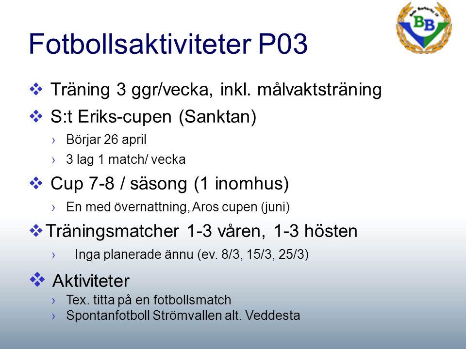 Fotbollsaktiviteter P03  Träning 3 ggr/vecka, inkl.