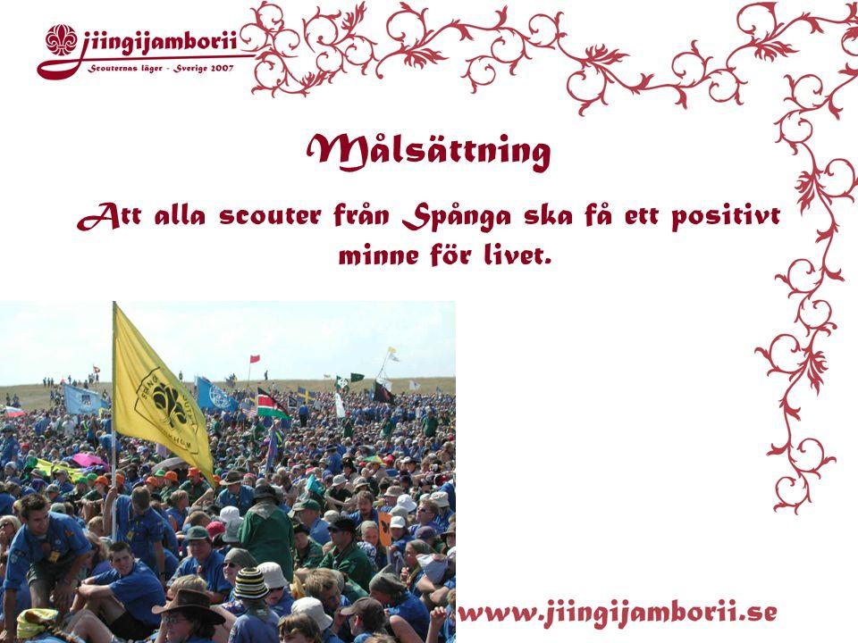 Målsättning Att alla scouter från Spånga ska få ett positivt minne för livet.