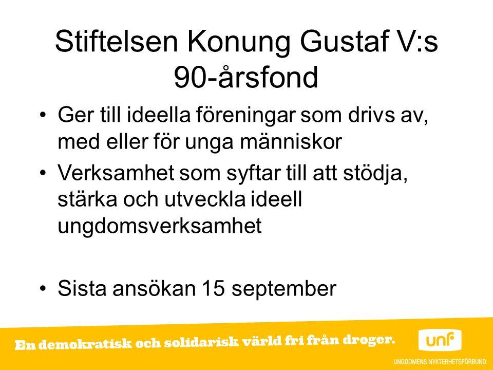 Stiftelsen Konung Gustaf V:s 90-årsfond Ger till ideella föreningar som drivs av, med eller för unga människor Verksamhet som syftar till att stödja,