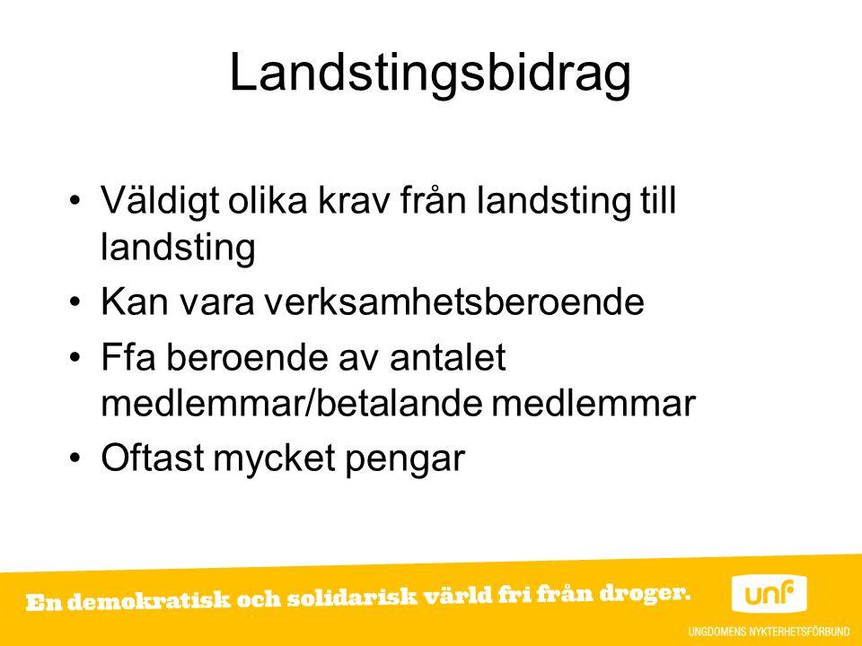Landstingsbidrag Väldigt olika krav från landsting till landsting Kan vara verksamhetsberoende Ffa beroende av antalet medlemmar/betalande medlemmar Oftast mycket pengar