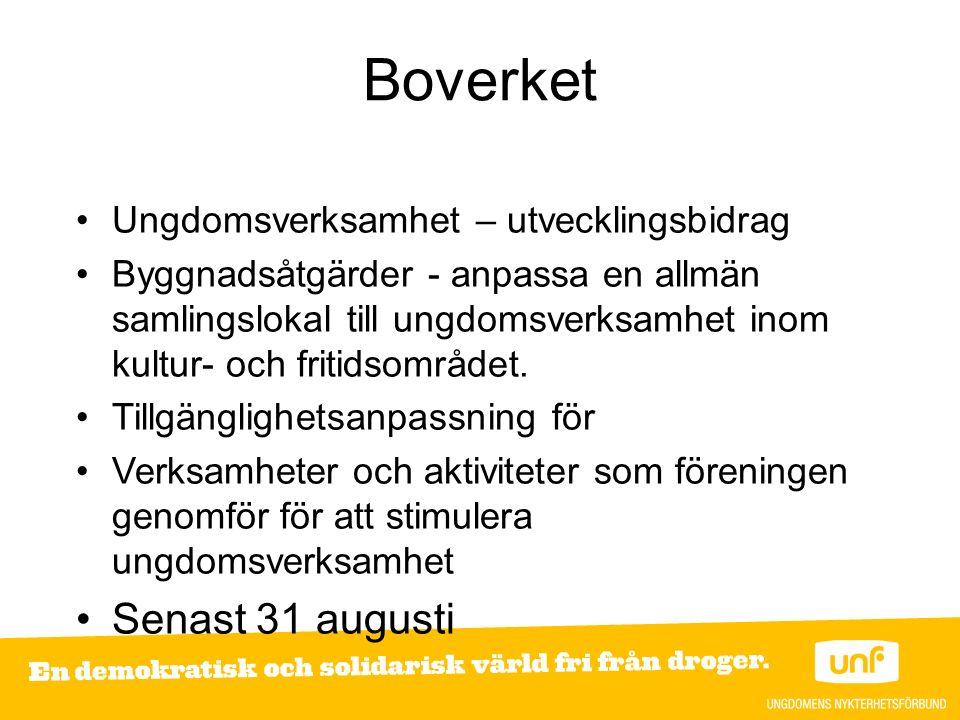 Stiftelsen Konung Gustaf V:s 90-årsfond Ger till ideella föreningar som drivs av, med eller för unga människor Verksamhet som syftar till att stödja, stärka och utveckla ideell ungdomsverksamhet Sista ansökan 15 september
