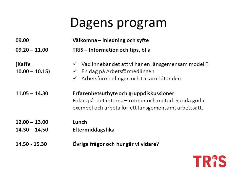 Dagens program 09.00Välkomna – inledning och syfte 09.20 – 11.00 (Kaffe 10.00 – 10.15) TRIS – Information och tips, bl a Vad innebär det att vi har en länsgemensam modell.