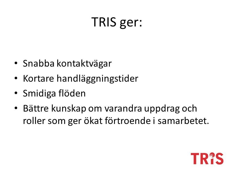 TRIS ger: Snabba kontaktvägar Kortare handläggningstider Smidiga flöden Bättre kunskap om varandra uppdrag och roller som ger ökat förtroende i samarbetet.
