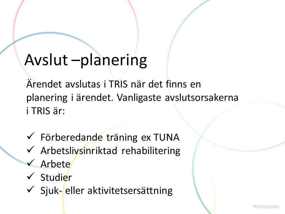 Avslut –planering Ärendet avslutas i TRIS när det finns en planering i ärendet. Vanligaste avslutsorsakerna i TRIS är: Förberedande träning ex TUNA Ar