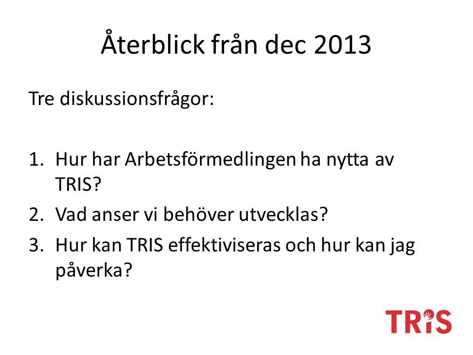 Återblick från dec 2013 Tre diskussionsfrågor: 1.Hur har Arbetsförmedlingen ha nytta av TRIS.