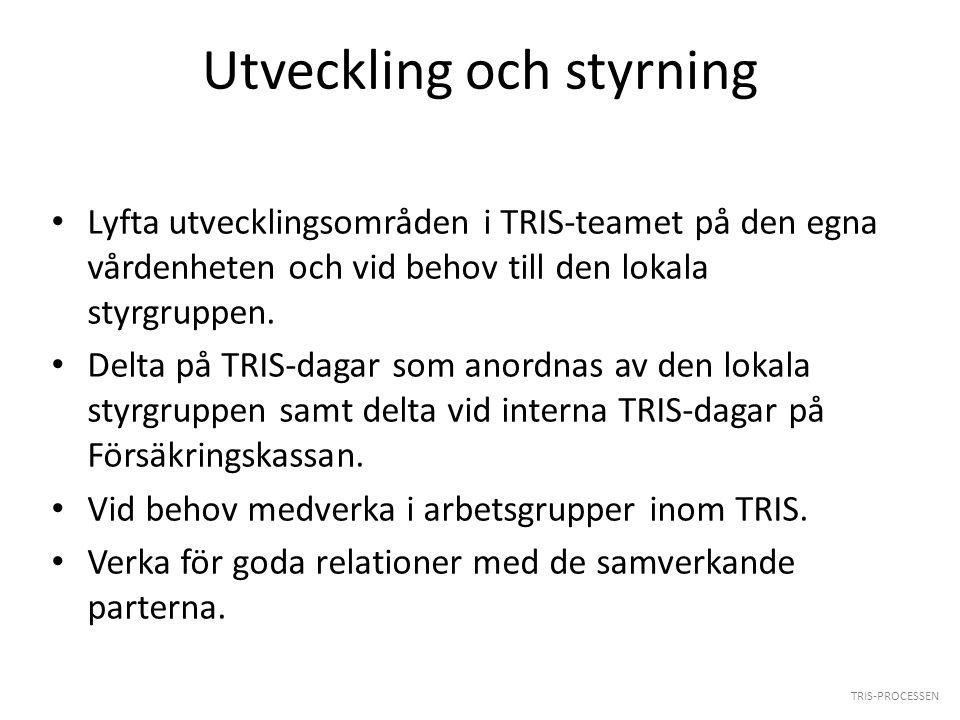 Utveckling och styrning Lyfta utvecklingsområden i TRIS-teamet på den egna vårdenheten och vid behov till den lokala styrgruppen. Delta på TRIS-dagar