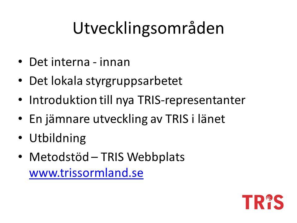 Utvecklingsområden Det interna - innan Det lokala styrgruppsarbetet Introduktion till nya TRIS-representanter En jämnare utveckling av TRIS i länet Ut