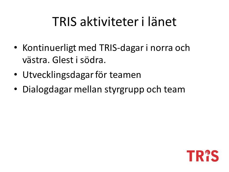 TRIS aktiviteter i länet Kontinuerligt med TRIS-dagar i norra och västra. Glest i södra. Utvecklingsdagar för teamen Dialogdagar mellan styrgrupp och