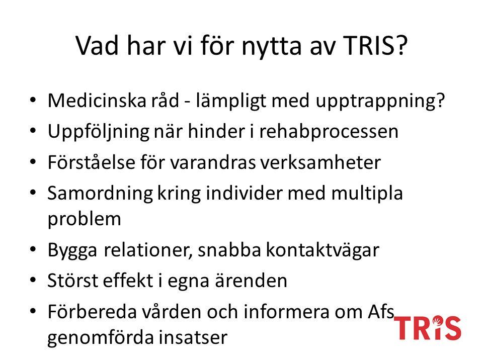 Vad har vi för nytta av TRIS? Medicinska råd - lämpligt med upptrappning? Uppföljning när hinder i rehabprocessen Förståelse för varandras verksamhete