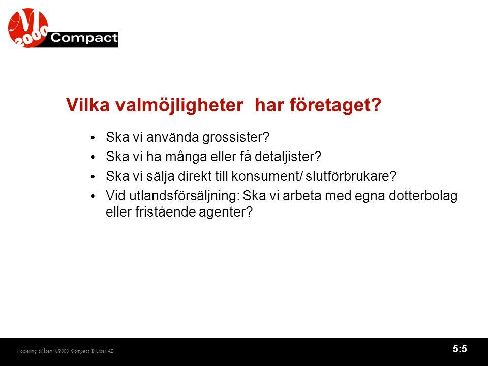 5:5 Kopiering tillåten. M2000 Compact © Liber AB Vilka valmöjligheter har företaget.