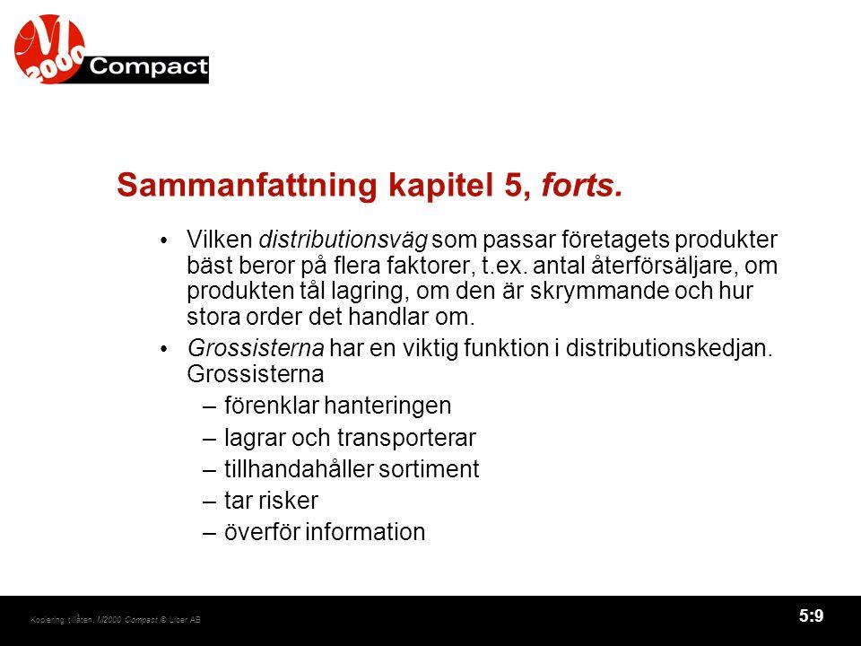 5:10 Kopiering tillåten.M2000 Compact © Liber AB Sammanfattning kapitel 5, forts.
