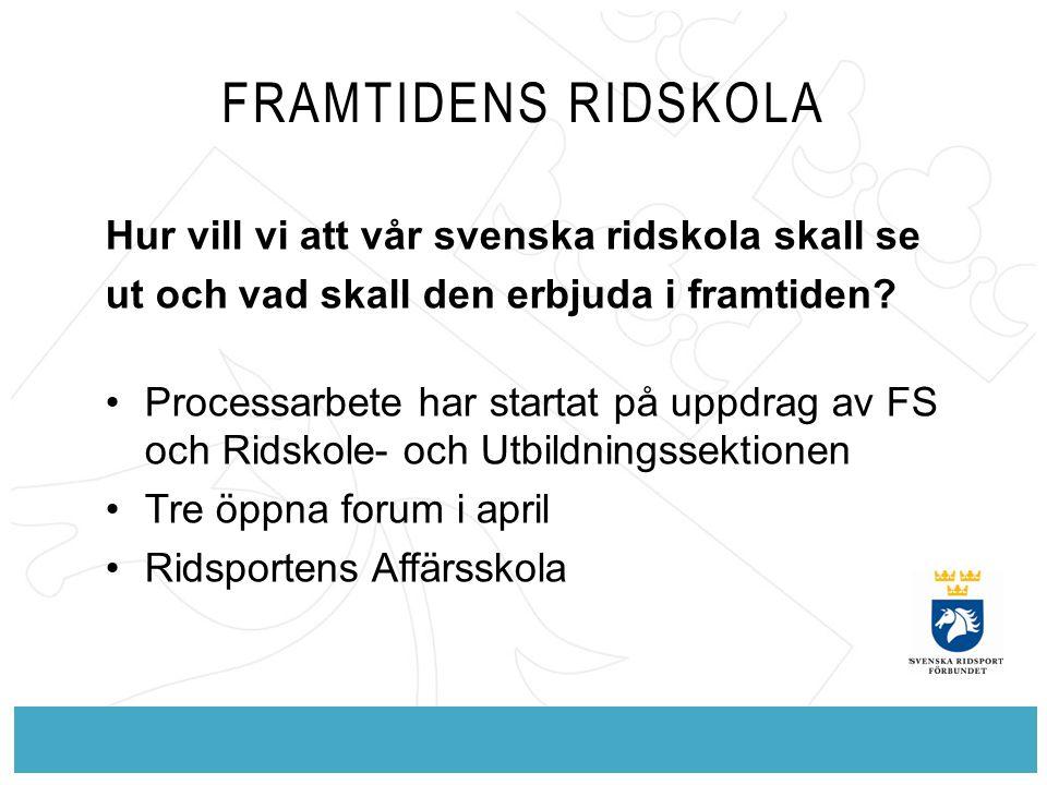 FRAMTIDENS RIDSKOLA Hur vill vi att vår svenska ridskola skall se ut och vad skall den erbjuda i framtiden? Processarbete har startat på uppdrag av FS