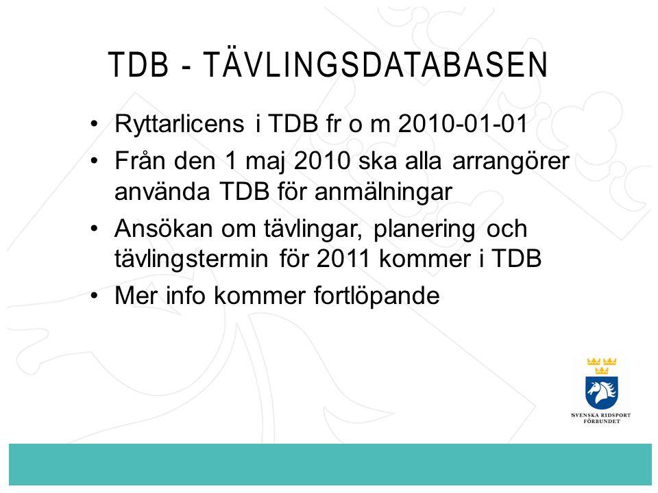 TDB - TÄVLINGSDATABASEN Ryttarlicens i TDB fr o m 2010-01-01 Från den 1 maj 2010 ska alla arrangörer använda TDB för anmälningar Ansökan om tävlingar,
