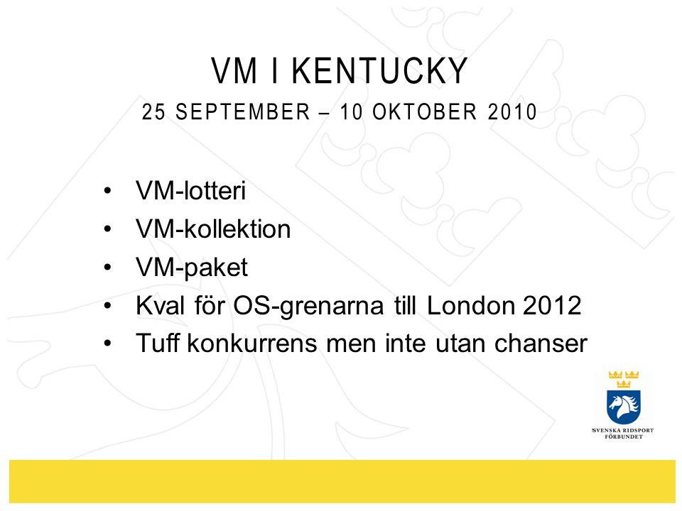 VM I KENTUCKY 25 SEPTEMBER – 10 OKTOBER 2010 VM-lotteri VM-kollektion VM-paket Kval för OS-grenarna till London 2012 Tuff konkurrens men inte utan cha