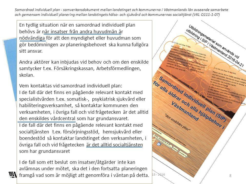 8 Samordnad individuell plan - samverkansdokument mellan landstinget och kommunerna i Västmanlands län avseende samarbete och gemensam individuell planering mellan landstingets hälso- och sjukvård och kommunernas socialtjänst (VKL Q111-1-07) En tydlig situation när en samordnad individuell plan behövs är när insatser från andra huvudmän är nödvändiga för att den myndighet eller huvudman som gör bedömningen av planeringsbehovet ska kunna fullgöra sitt ansvar.