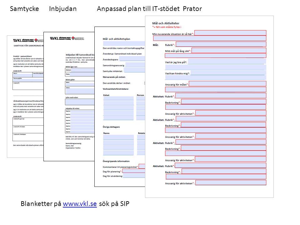 Samtycke Inbjudan Anpassad plan till IT-stödet Prator Blanketter på www.vkl.se sök på SIPwww.vkl.se