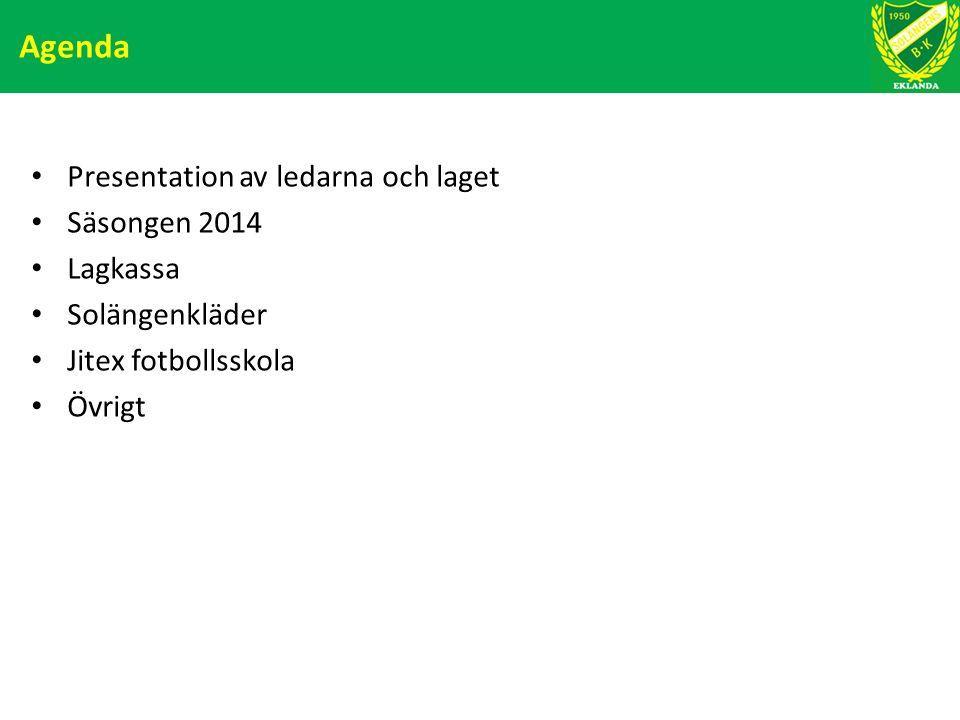 Agenda Presentation av ledarna och laget Säsongen 2014 Lagkassa Solängenkläder Jitex fotbollsskola Övrigt